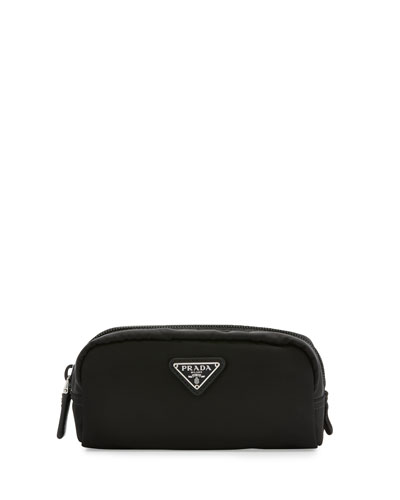 Small Nylon Rectangle Cosmetic Case, Black (Nero)