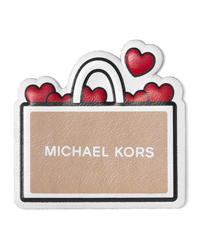 I Heart Shopping Sticker for Handbag, Oyster