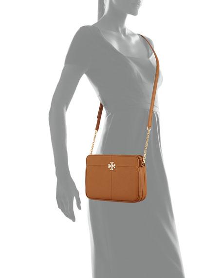 Ivy Leather Crossbody Bag, Bark