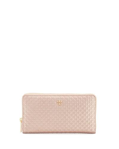 Marion Embossed Metallic Zip-Around Wallet, Rose Gold