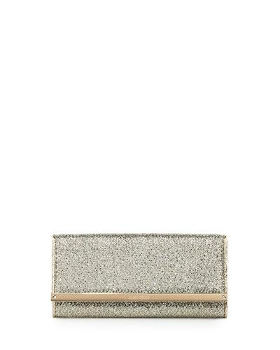 Milla Glitter Fabric Clutch Bag, Champagne