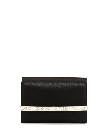 Bow Crystal-Bar Clutch Bag, Black