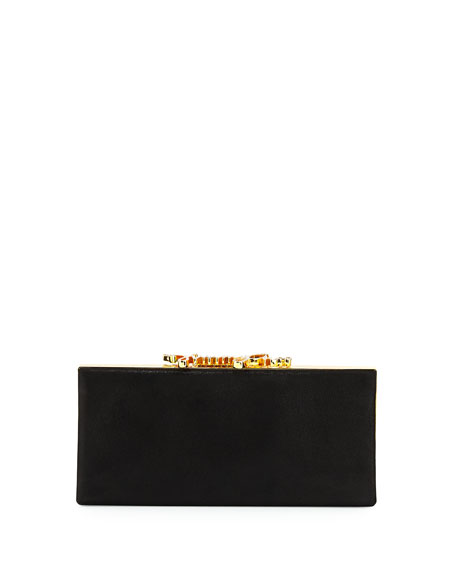 Jimmy Choo Celeste Logo-Clasp Clutch Bag, Black