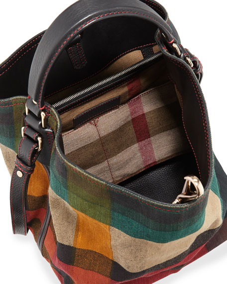 790ac1b2e5b8 Burberry Ashby Medium Colorblock Check Canvas Hobo Bag