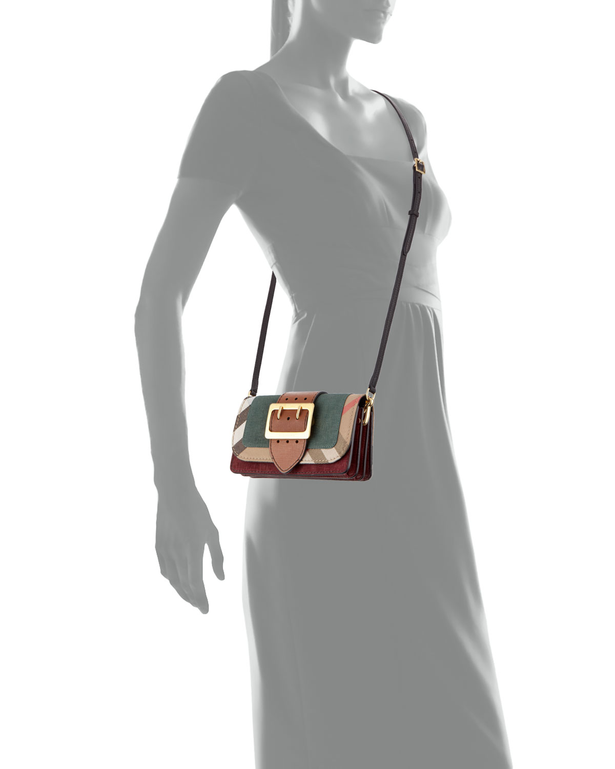 a5ad705fd1 Burberry Small Buckle Suede   House Check Shoulder Bag