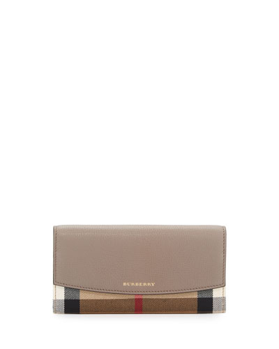 Porter House Check Continental Wallet, Thistle Gray