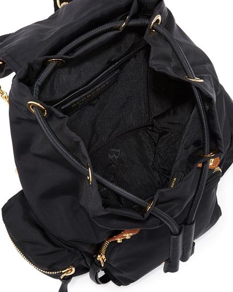 Small Leather-Trim Nylon Backpack, Black