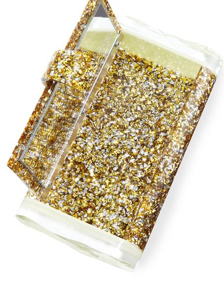 Lara Backlit Acrylic Clutch Bag, Gold/Silver/Glow