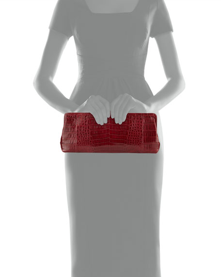 Small Frame Crocodile Clutch Bag, Red Shiny