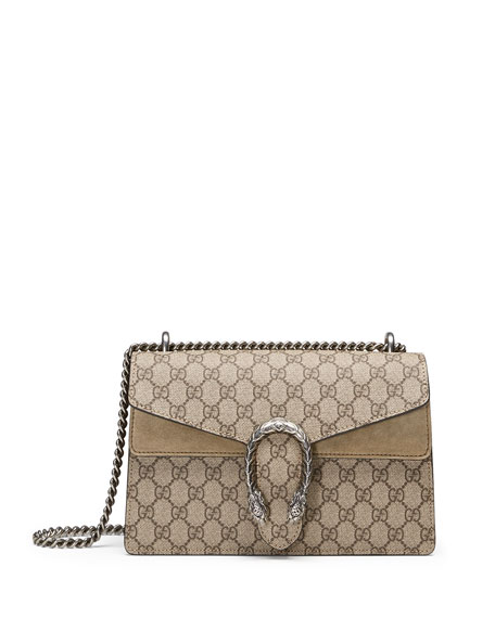 Dionysus Gg Supreme Small Coated Canvas And Suede Shoulder Bag in Taupe
