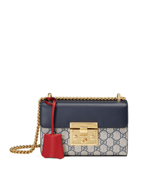 Padlock GG Supreme Small Shoulder Bag, Blue