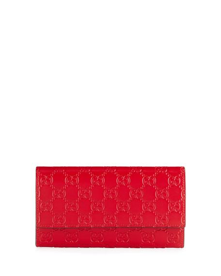 7e2d384e698554 Gucci Gucci Signature Continental Wallet, Hibiscus Red | Neiman Marcus