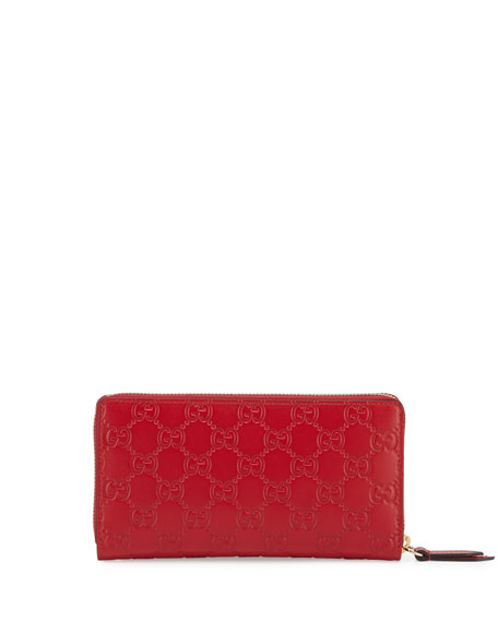 Gucci Signature Zip-Around Wallet, Red