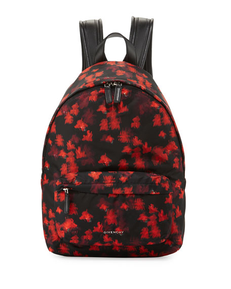 Givenchy Small Floral-Print Nylon Backpack, Black/Red