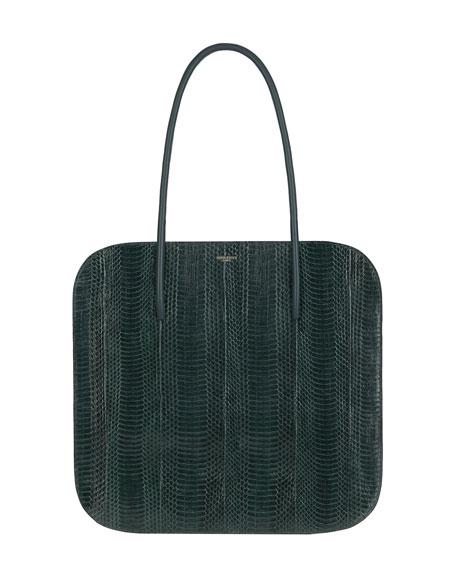 Irrisor Oval Large Snakeskin Flat Tote Bag, Deep Emerald