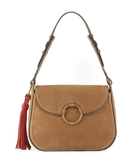 Tory Burch Tassel Large Leather Shoulder Bag, River Rock