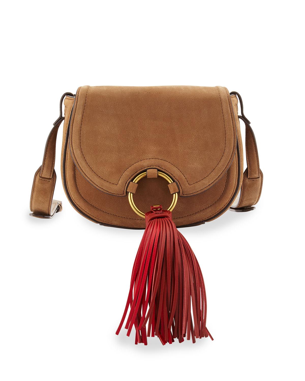 Tassel Mini Leather Saddle Bag River Rock
