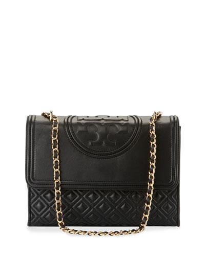 Fleming Quilted Convertible Shoulder Bag, Black