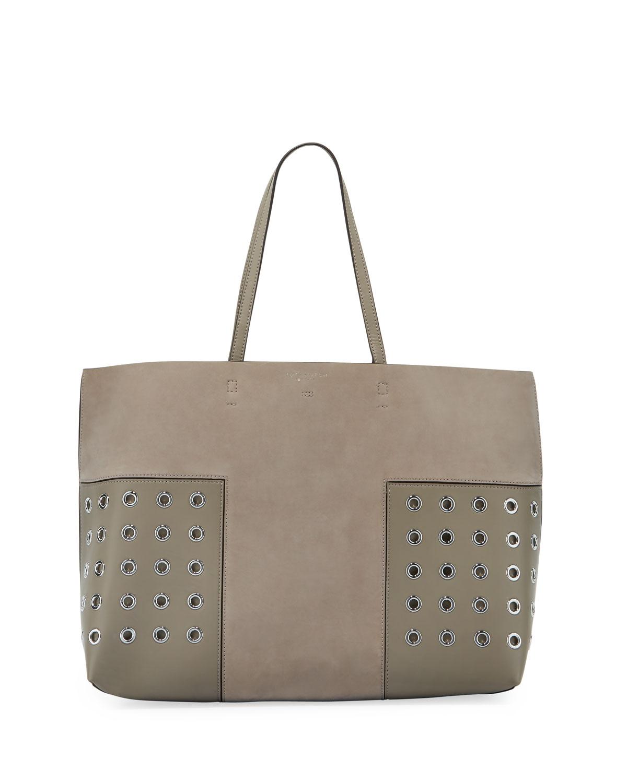 61c5b753d2eb Tory Burch Block-T Grommet Leather Tote Bag