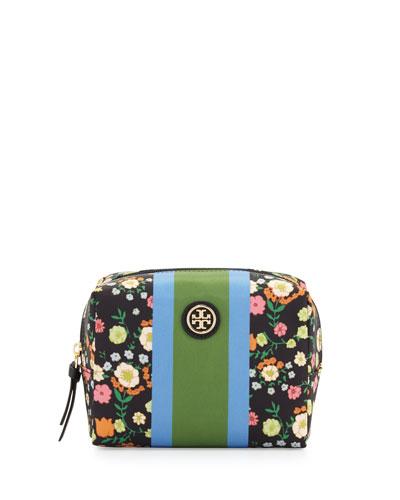 Brigitte Floral Nylon Cosmetic Bag, Vilette