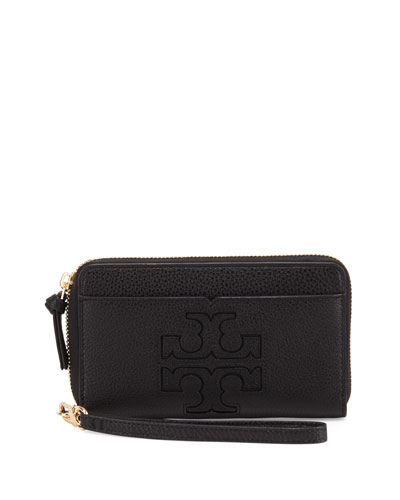 Harper Leather Phone Wristlet, Black