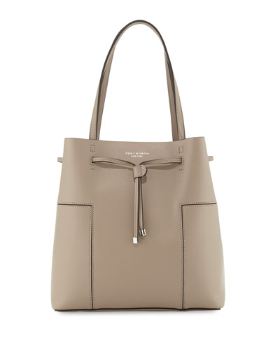 Block-T Leather Bucket Tote Bag, French Gray