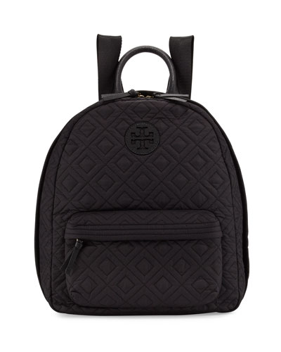 Ella Quilted Nylon Backpack, Black