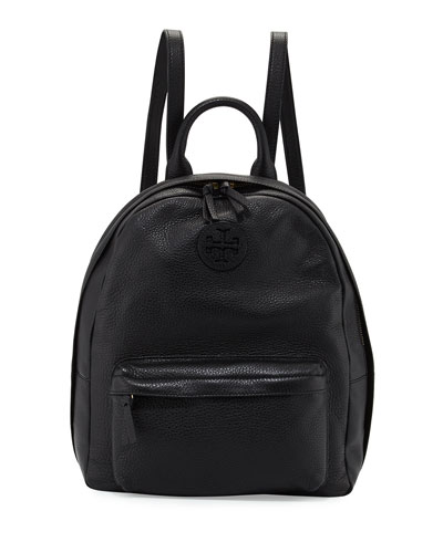 Zip-Around Leather Backpack, Black