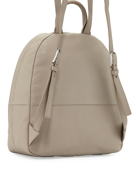 Zip-Around Leather Backpack, French Gray