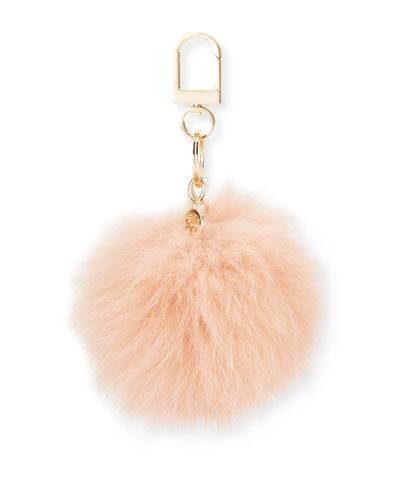 Fur Pompom Key Fob, Peach Blossom