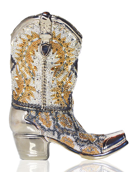 Cassidy Crystal Cowboy Boot Evening Clutch Bag, Silver/Multi