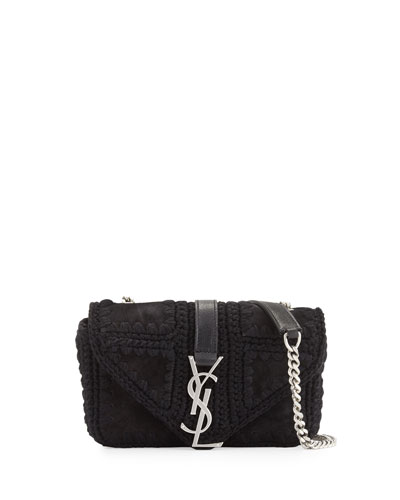 Monogram Baby Macrame Suede Chain Crossbody Bag, Black