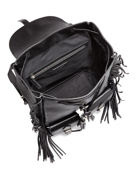 Festival Leather Medium Fringe Backpack, Black