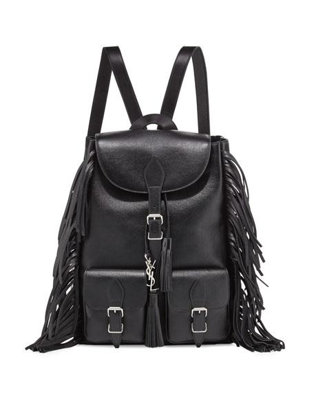 Festival Leather Medium Fringe Backpack, Black