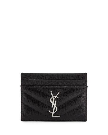 Monogram Matelassé Leather Card Case, Black/Silver