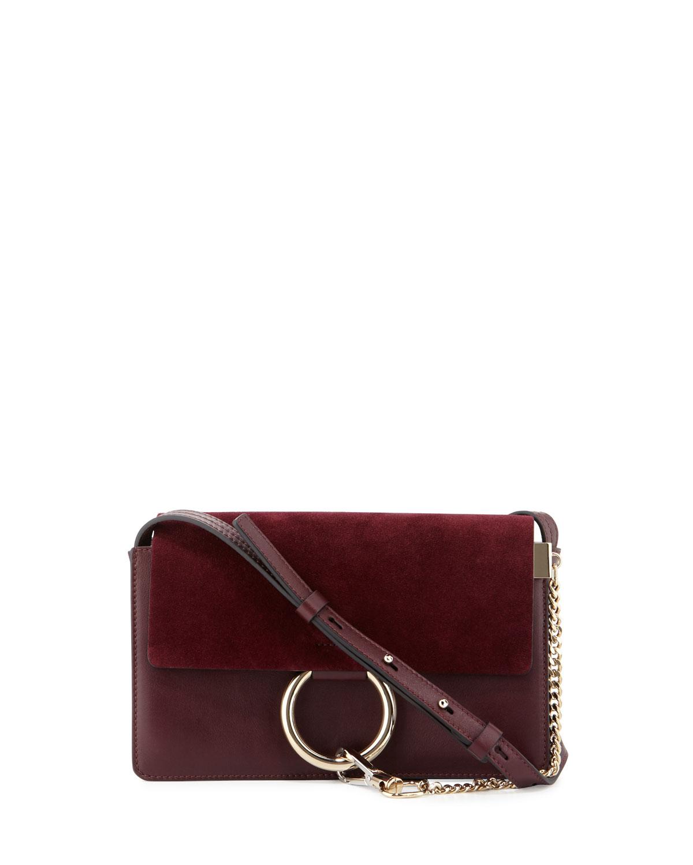 Faye Small Suede Shoulder Bag Dark Purple