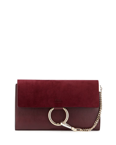 Faye Leather & Suede Clutch Bag, Dark Purple