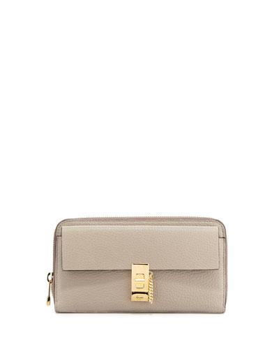 Drew Leather Zip-Around Wallet, Gray