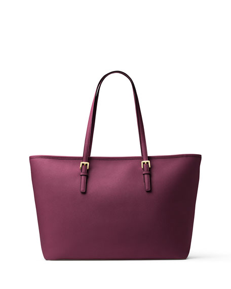 Jet Set Travel Medium Saffiano Tote Bag, Plum