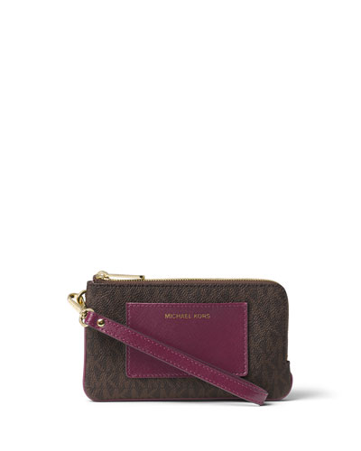 Bedford Medium Double-Zip Wristlet, Brown/Plum