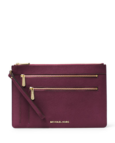 Jet Set Travel XL Triple-Zip Wristlet, Plum