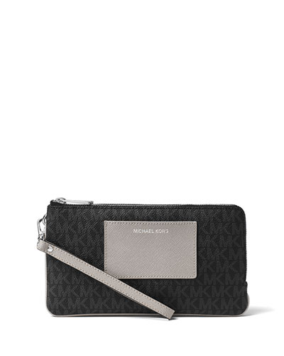 Bedford Large Double-Zip Wristlet, Black/Gray