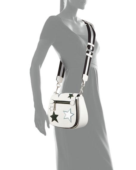 Star Patchwork Small Saddle Bag, Star White/Multi