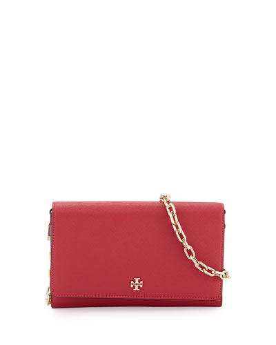 Robinson Saffiano Wallet-On-Chain, Dark Peony