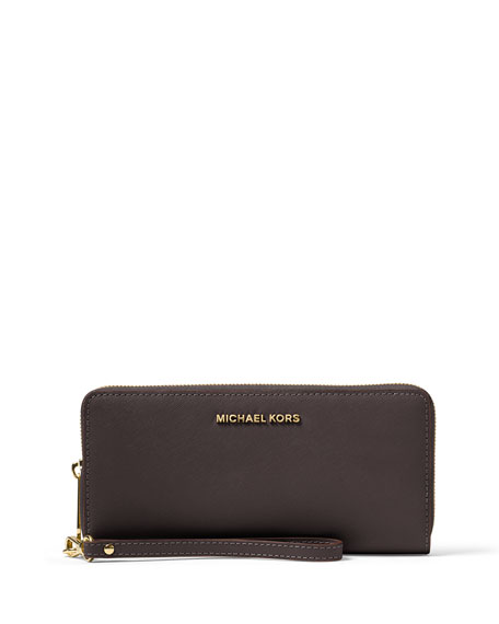 Jet Set Travel Continental Wristlet Wallet, Coffee