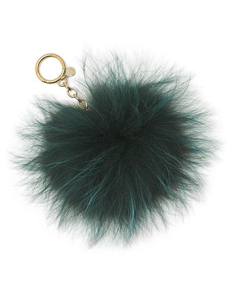 Large Fur Pompom Keychain, Moss