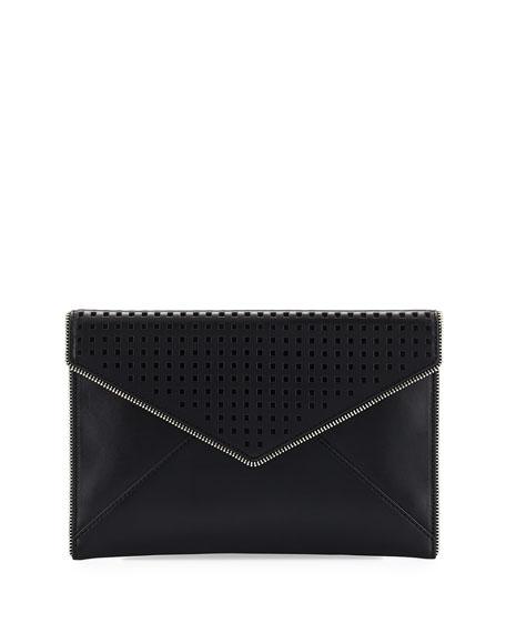 Leo Perforated Envelope Clutch Bag, Black