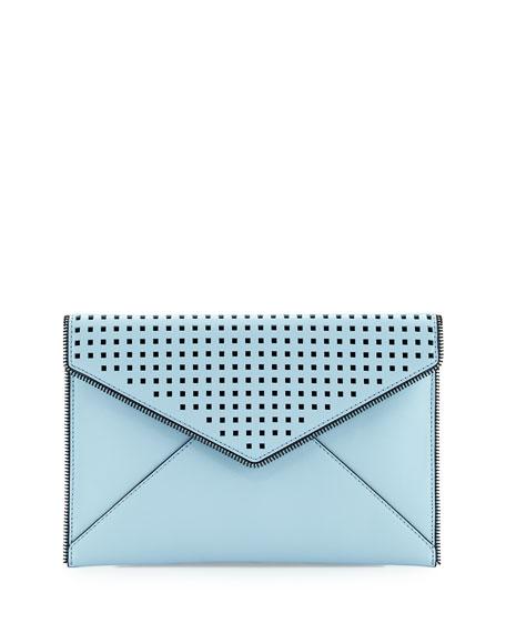 Leo Perforated Envelope Clutch Bag, Sky