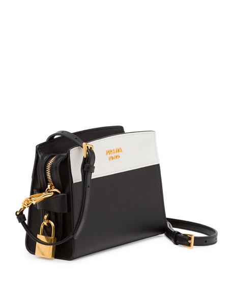 Bicolor Leather Camera Crossbody Bag, Black/White
