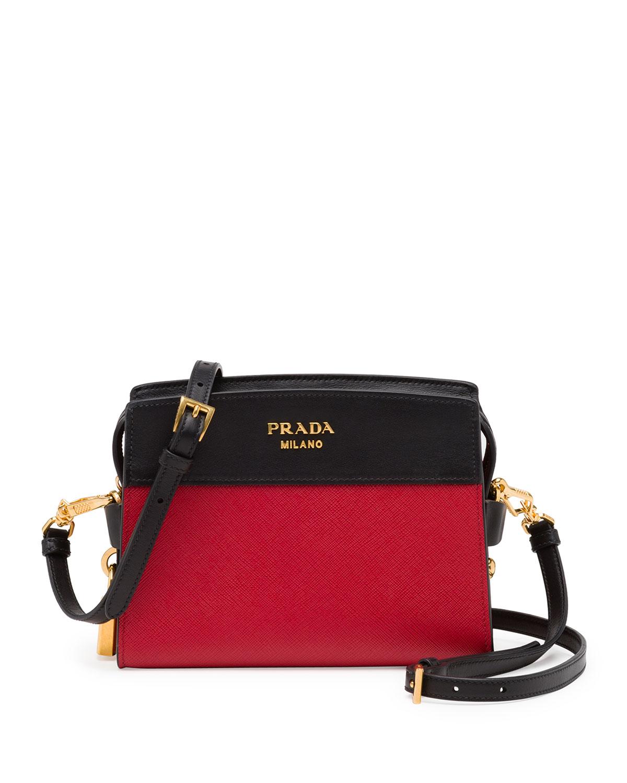 0f3c3472ca1c26 Prada Bicolor Leather Camera Crossbody Bag, Red/Black | Neiman Marcus